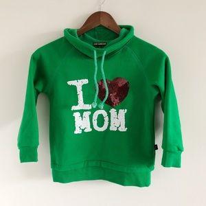 Baby Monster I Love Mom Bling Green Sweatshirt 130